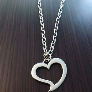 DeMarcus Alexan Steel Open Heart Necklace